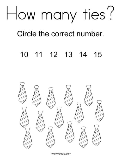 How many ties? Coloring Page