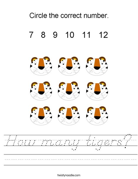 How many tigers? Worksheet