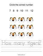 How many tigers Handwriting Sheet