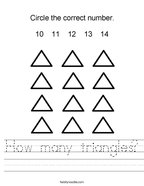 How many triangles Handwriting Sheet