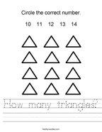 How many triangles Handwriting Sheet