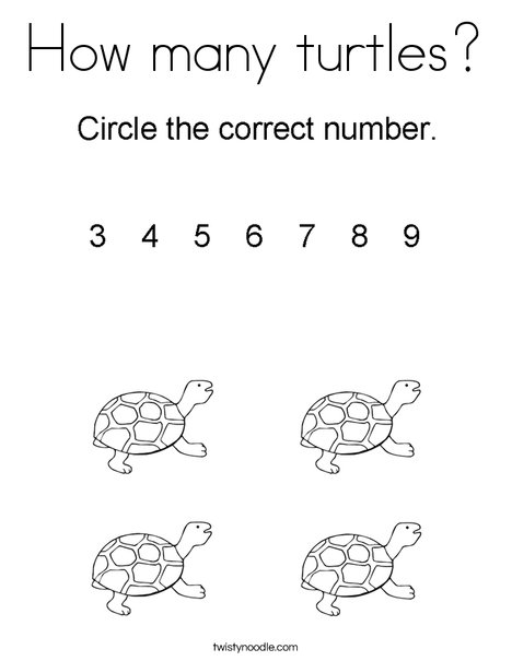 How many turtles? Coloring Page