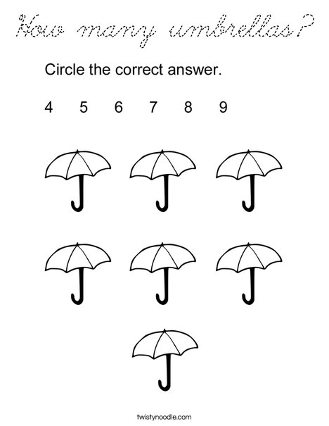 How many umbrellas? Coloring Page