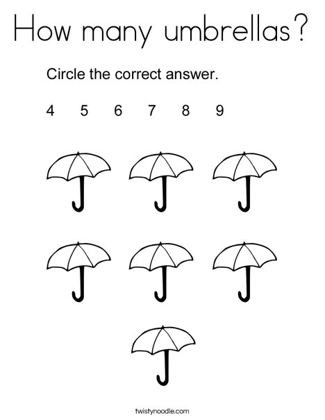 How Many Umbrellas Coloring Page