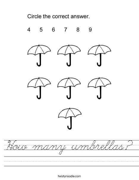 How many umbrellas? Worksheet