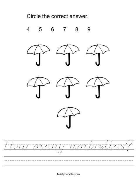 How many umbrellas? Worksheet