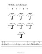 How many umbrellas Handwriting Sheet