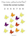 How many yellow butterflies? Coloring Page