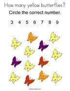 How many yellow butterflies Coloring Page
