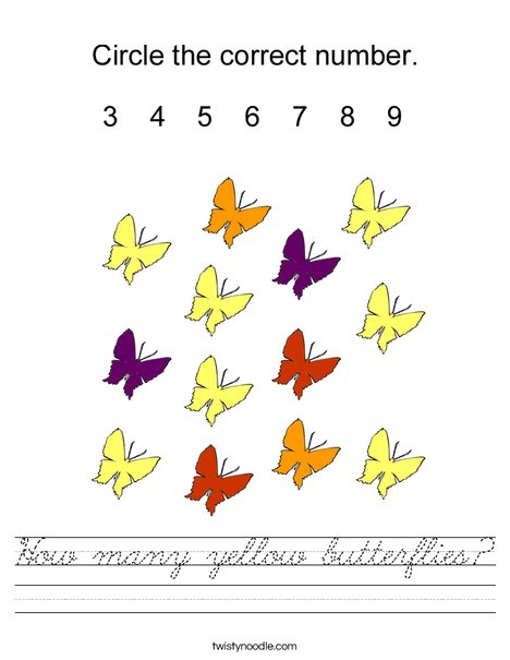 How many yellow butterflies? Worksheet