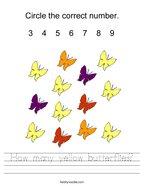 How many yellow butterflies Handwriting Sheet