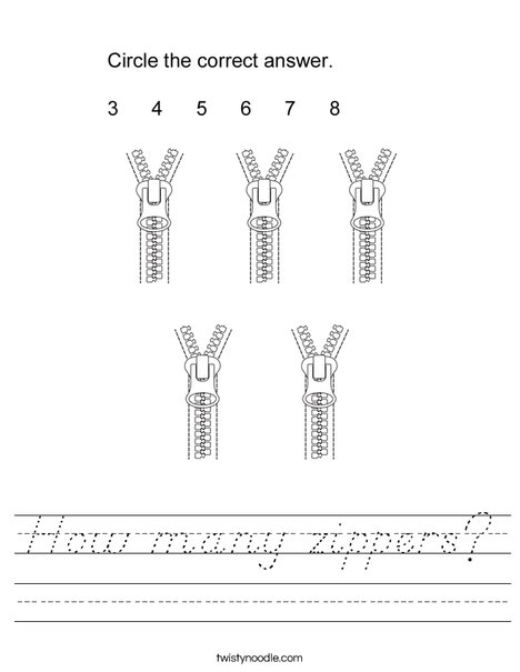 How many zippers? Worksheet