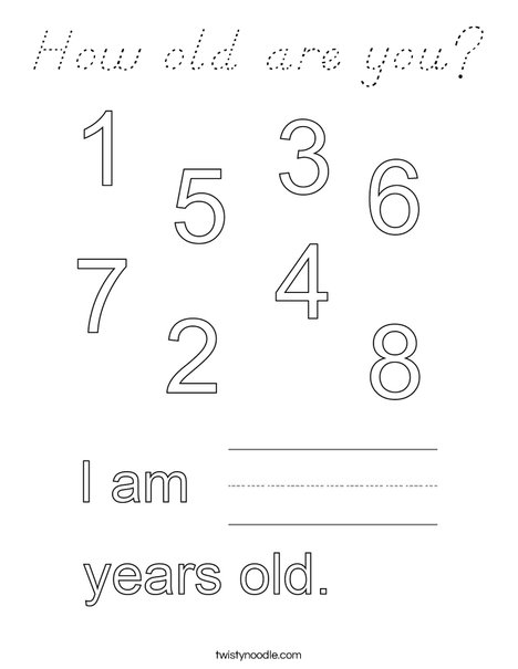 How old are you? Coloring Page