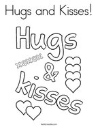 Hugs and Kisses Coloring Page