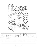 Hugs and Kisses Handwriting Sheet