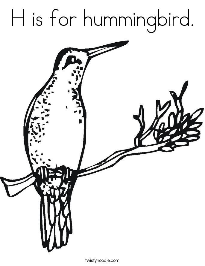 H is for hummingbird. Coloring Page