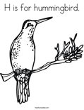H is for hummingbird.Coloring Page