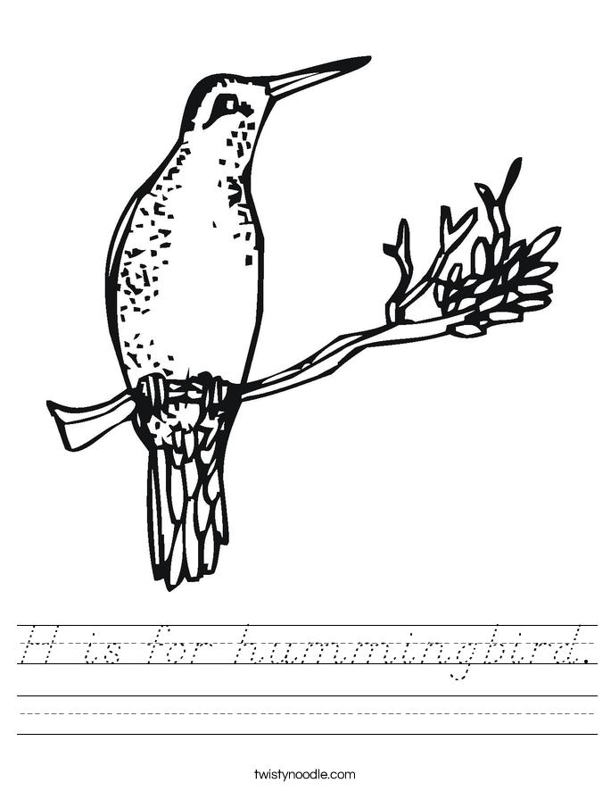 H is for hummingbird. Worksheet