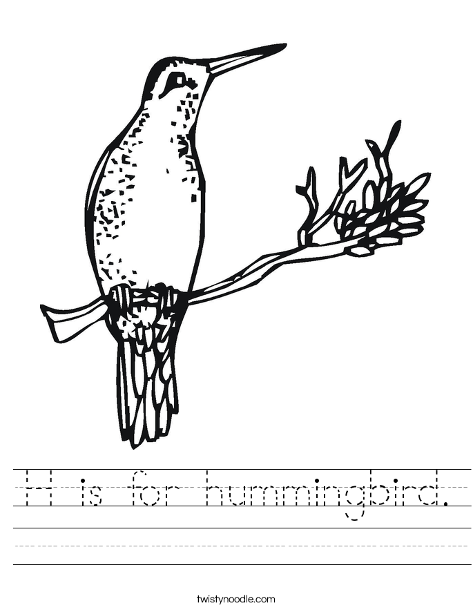 H Is For Hummingbird Worksheet Twisty Noodle