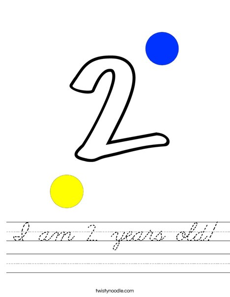 I am 2 years old! Worksheet