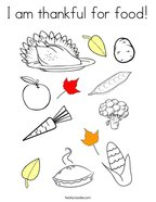 I am thankful for food Coloring Page