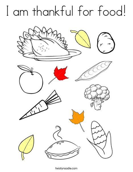 I am thankful for food! Coloring Page