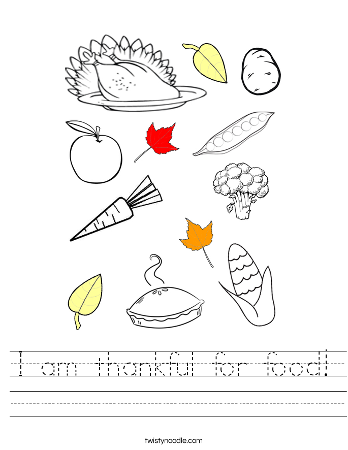 I am thankful for food! Worksheet