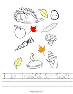 I am thankful for food Handwriting Sheet