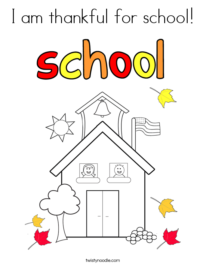 I am thankful for school! Coloring Page