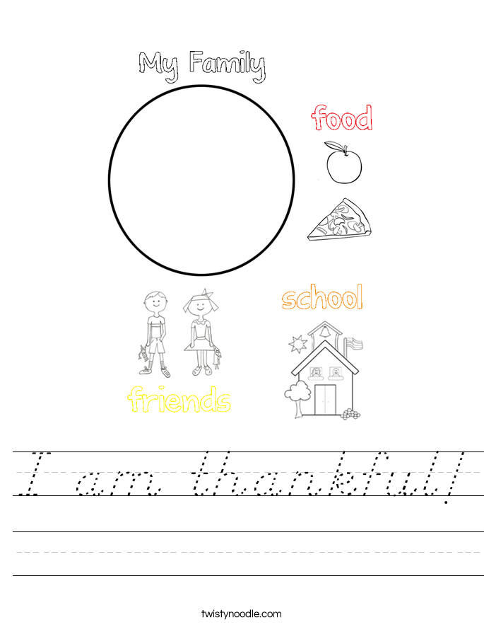 I am thankful! Worksheet