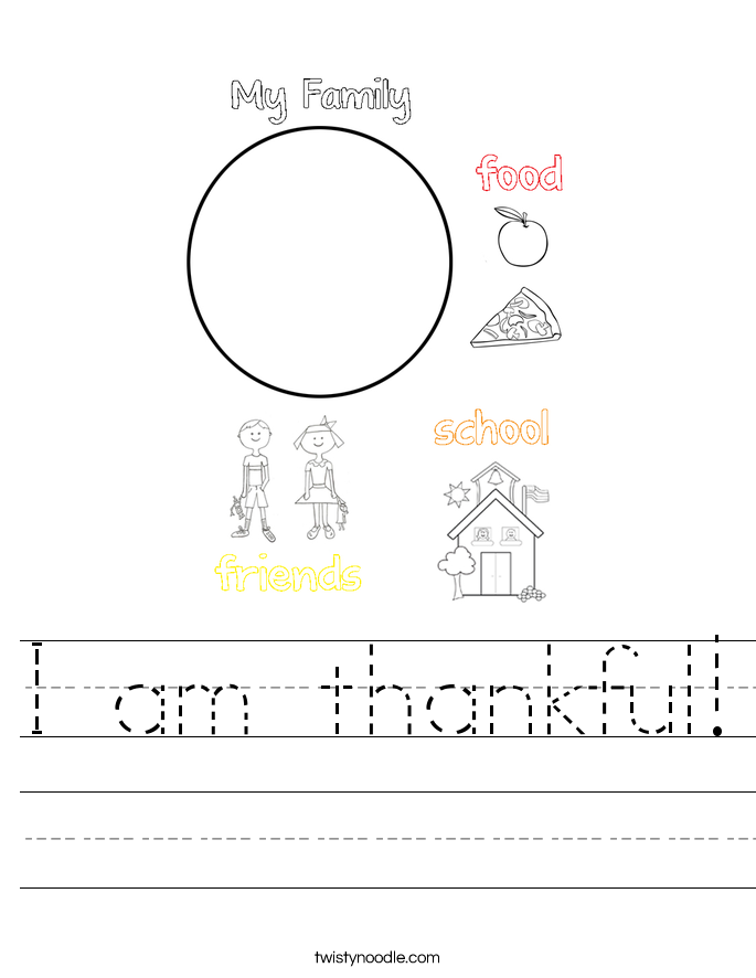 I am thankful! Worksheet