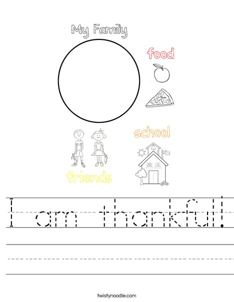 I am thankful Worksheet - Twisty Noodle