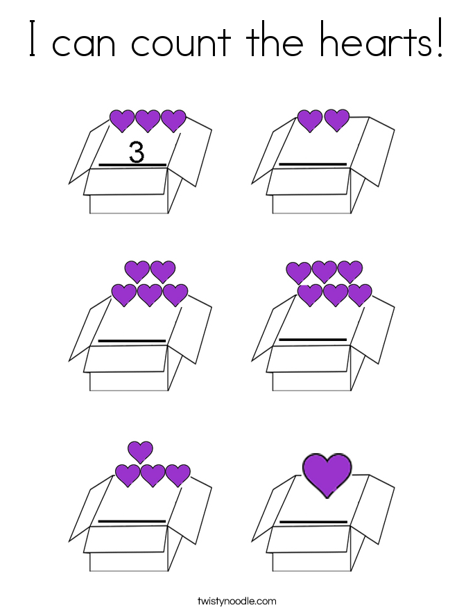 I can count the hearts! Coloring Page