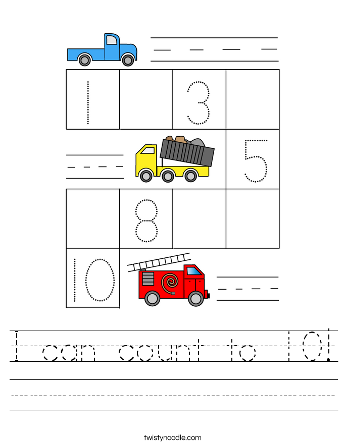 I can count to 10! Worksheet