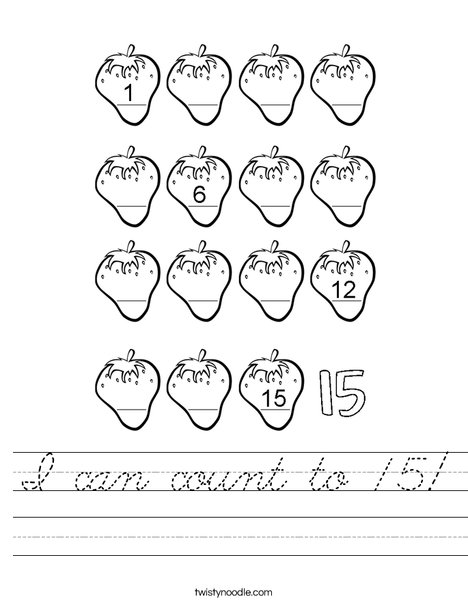 I can count to 15! Worksheet
