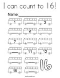 I can count to 16! Coloring Page