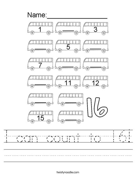 I can count to 16! Worksheet