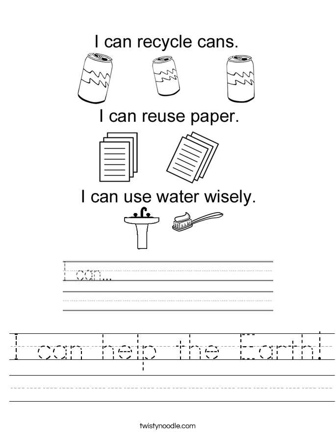 I Can Help The Earth Worksheet Twisty Noodle