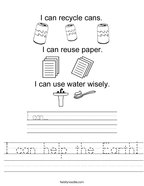I can help the Earth Handwriting Sheet