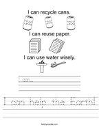 I can help the Earth Handwriting Sheet
