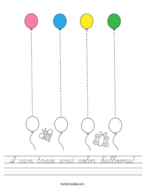 I can trace and color balloons! Worksheet