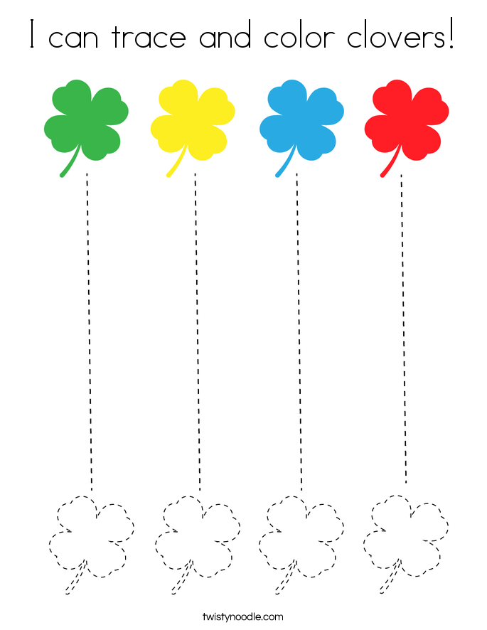 I can trace and color clovers! Coloring Page
