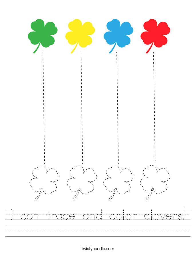 I can trace and color clovers! Worksheet