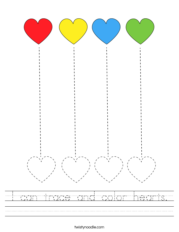 I can trace and color hearts. Worksheet