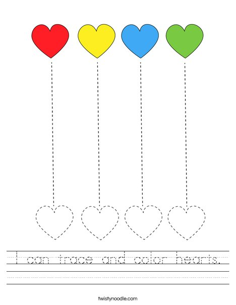 I can trace and color hearts! Worksheet