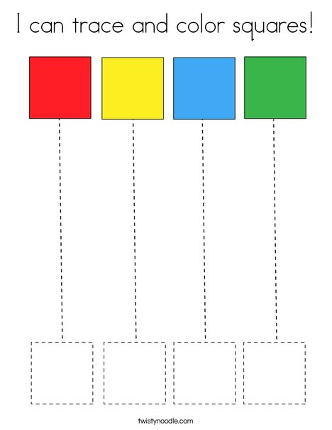 I can trace and color squares! Coloring Page