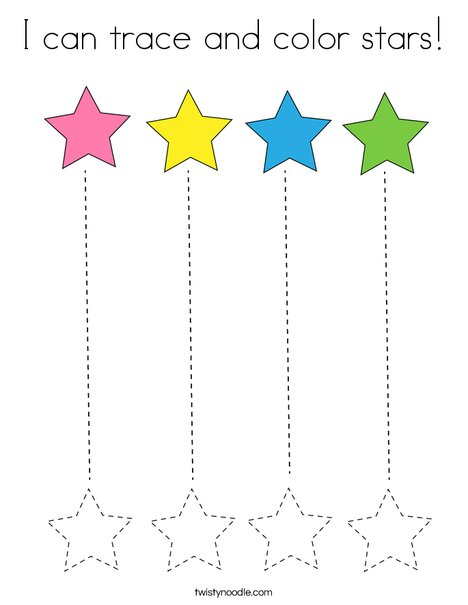 I can trace and color stars! Coloring Page