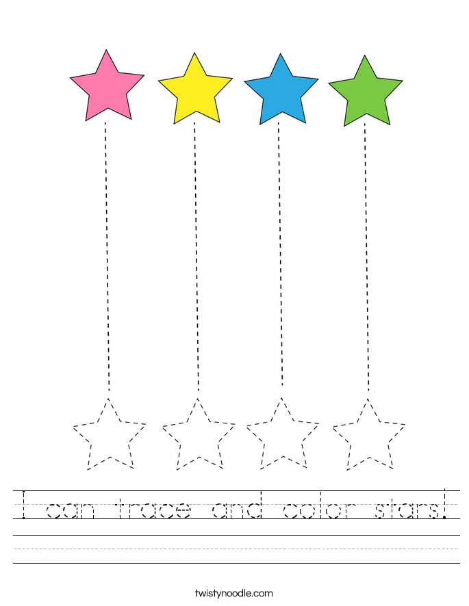 I can trace and color stars! Worksheet