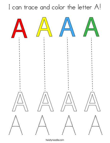 I can trace and color the Letter A! Coloring Page