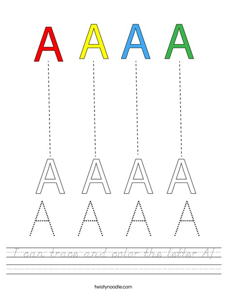 I can trace and color the Letter A! Worksheet